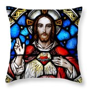 Sacred Heart Of Jesus In Stained Glass Throw Pillow