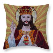 Sacred Heart Of Jesus Hand Embroidery Throw Pillow
