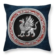 Sacred Silver Griffin On Blue Leather Throw Pillow