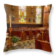 Sacred Space - Our Lady Of Mt. Carmel Church Throw Pillow