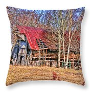 Sad Barn -  Featured In 'old Buildings And Ruins' Throw Pillow