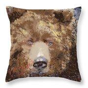 Sad Brown Bear Throw Pillow