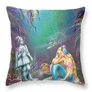 Sad Little Mermaid Throw Pillow by Zorina Baldescu