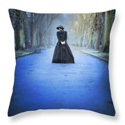 Sad Victorian Woman Alone In A Park At Dusk Throw Pillow