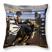 Saddle Bronc Riding Competition Throw Pillow