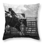 Saddle Bronc Riding Throw Pillow