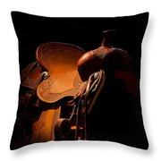 Saddle In The Shop Throw Pillow