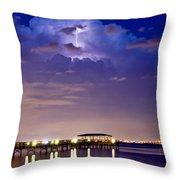 Safety Harbor Pier Illuminated Throw Pillow