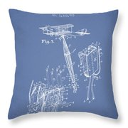 Safety Parachute Patent From 1919 - Light Blue Throw Pillow