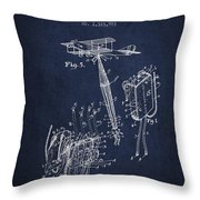 Safety Parachute Patent From 1919 - Navy Blue Throw Pillow
