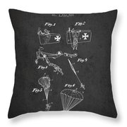 Safety Parachute Patent From 1925 - Charcoal Throw Pillow