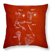 Safety Parachute Patent From 1925 - Red Throw Pillow