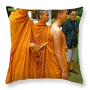 Saffron-robed Monks At Buddhist University In Chiang Mai-thailand Throw Pillow