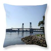 Sagadahoc Bridge Bath Maine Throw Pillow