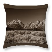 Sagebrush And Tetons Throw Pillow