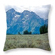 Sagebrush Flatland And Teton Peaks Near Jenny Lake In Grand Teton National Park-wyoming- Throw Pillow