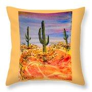 Saguaro Cactus Desert Landscape Throw Pillow