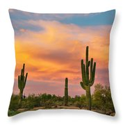 Saguaro Desert Life Throw Pillow