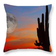 Saguaro Full Moon Sunset Throw Pillow