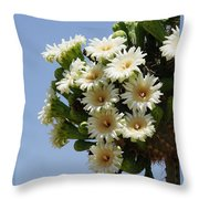 Saguaro In Bloom In The Superstition Mountains Throw Pillow
