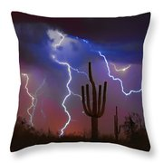 Saguaro Lightning Nature Fine Art Photograph Throw Pillow