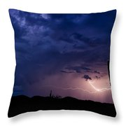 Saguaro Lightning  Throw Pillow