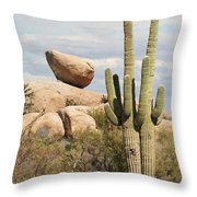 Saguaros And Big Rocks Throw Pillow