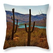 Saguaros In Arizona Throw Pillow