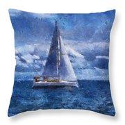 Sail Boat Photo Art 02 Throw Pillow