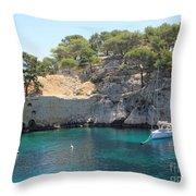 Sail Boats At Calanque De Port Miou Throw Pillow