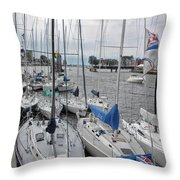 Sail Boats Docked For The Night Throw Pillow