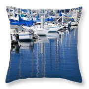 Sail Boats Docked In Marina Throw Pillow