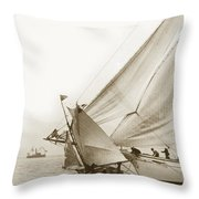 Sail Boats Little Anne And Virginia Collision On San Francisco Bay Circa 1886 Throw Pillow