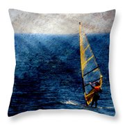 Sailboarding W Metal Throw Pillow