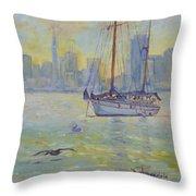 Sailboat Anchored At Sunset Throw Pillow