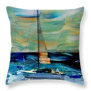 Sailboat And Abstract Throw Pillow