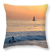 Sailboats And Surfers Throw Pillow
