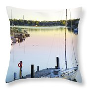 Sailboat At Sunrise Throw Pillow
