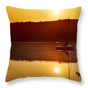 Sailboat At Sunrise Throw Pillow