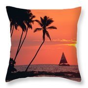 Sailboat At Sunset Throw Pillow