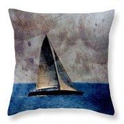 Sailboat Bird W Metal Throw Pillow
