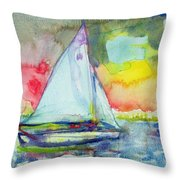 Sailboat Evening Wc On Paper Throw Pillow