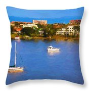 Sailboat In Holly Hill Throw Pillow
