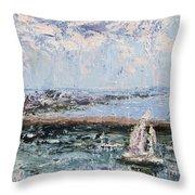 Sailboat In The Waukegan Harbor Throw Pillow