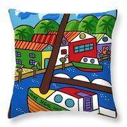 Sailboat In The Window Throw Pillow