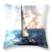 Sailboat Light W Metal Throw Pillow