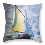 Sailboat Off Marthas Vineyard Massachusetts Throw Pillow by Carol Leigh