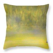 Sailboat On A Yellow Sea Throw Pillow