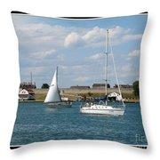 Sailboat On Lake Ontario Near Old Fort Niagara 2 Throw Pillow