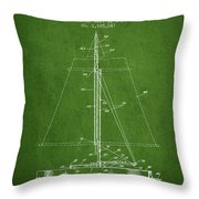 Sailboat Patent From 1932 - Green Throw Pillow